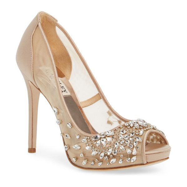 Badgley Mischka pepper peep toe pump in latte satin - Faceted crystals sparkle against the mesh panels of a...