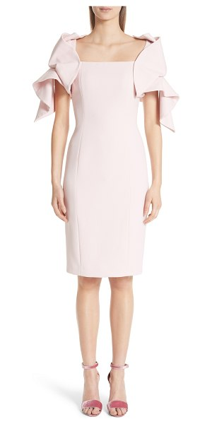 Badgley Mischka collection origami sleeve crepe cocktail dress in pink - Sculpture-inspired shoulders and sleeves make the...