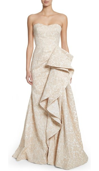 BADGLEY MISCHKA platinum sculptural ruffle gown - An ornate jacquard gown illuminated with shimmering...