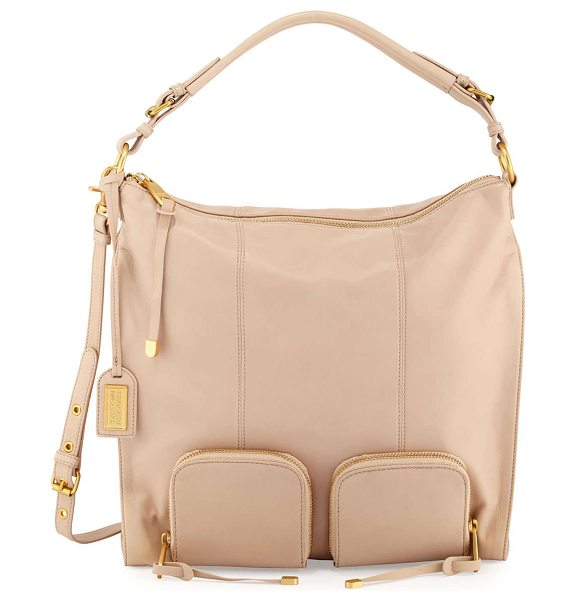 BADGLEY MISCHKA Poppy leather hobo bag in latte -  Badgley Mischka soft leather hobo bag. Golden hardware....