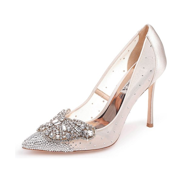 Badgley Mischka Quintana Mesh Embellished Pumps in champagne - Badgley Mischka mesh and satin pumps with beaded and...