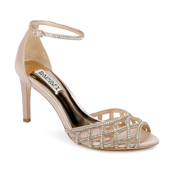 Badgley Mischka Rain Crystal Satin Ankle-Strap Sandals in nude