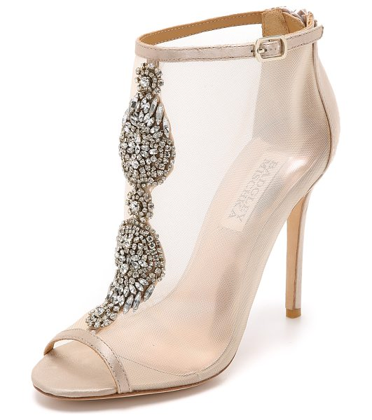 BADGLEY MISCHKA Rana mesh booties - A shimmering crystal cluster details the front of these...