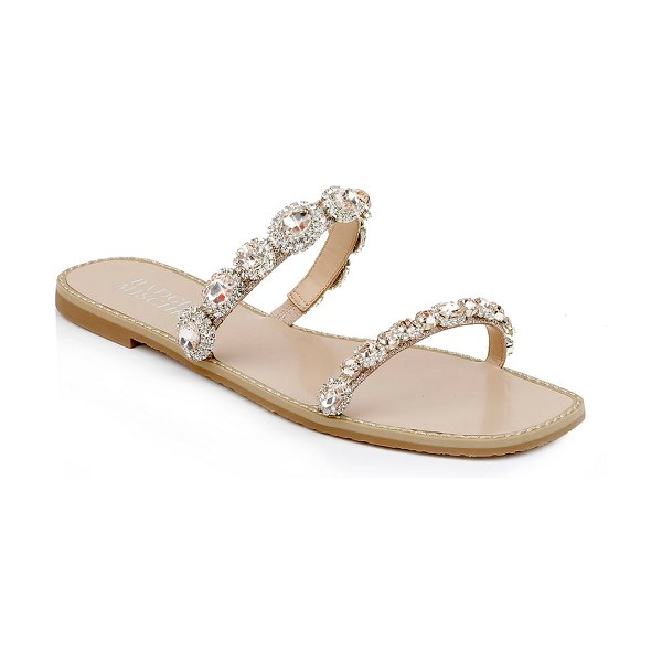 Badgley Mischka Reed Jeweled Flat Slide Sandals in champagne