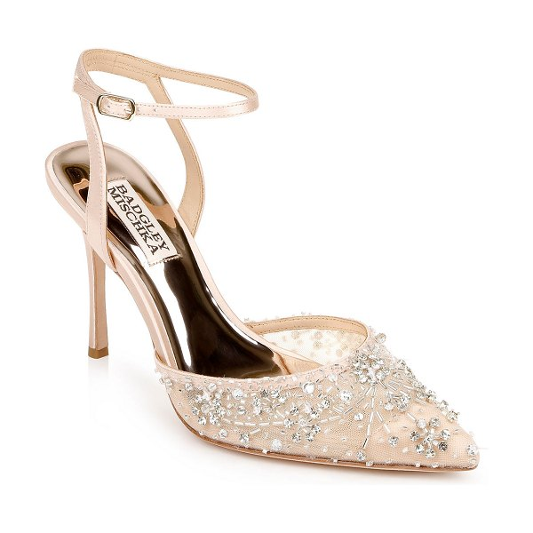 Badgley Mischka Roe Crystal Ankle-Strap Cocktail Pumps in seashell