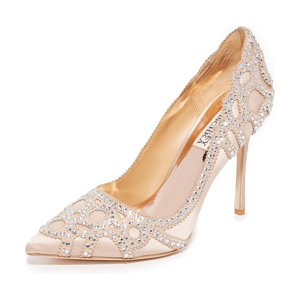 Badgley Mischka rouge pumps in latte - A scalloped pattern of glittering rhinestones accents...