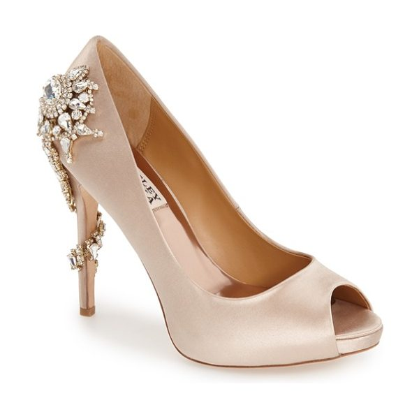 BADGLEY MISCHKA 'royal' crystal embellished peeptoe pump - Extravagant crystal embellishments light up the back and...