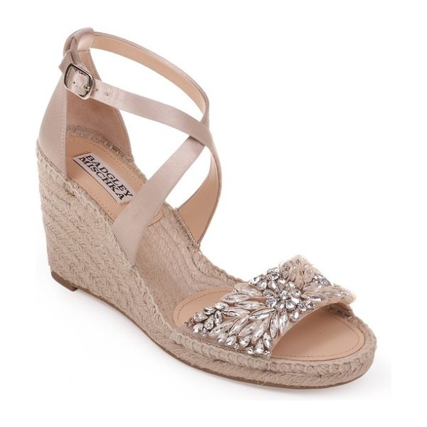 Badgley Mischka scarlette espadrille wedge in nude satin - An espadrille-wrapped wedge enhances the summery appeal...