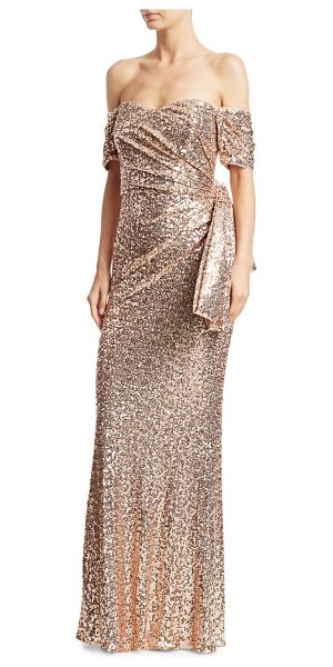 Badgley Mischka sequin bow back strapless gown in blush - Shimmery sequins accentuate this dazzling strapless...