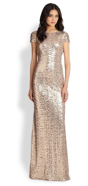Badgley Mischka sequin gown in blush - Classic breathtaking gilded-sequin gown with a slinky...