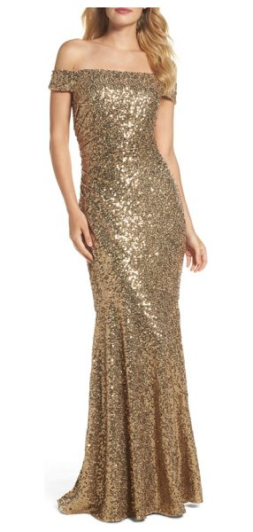Badgley Mischka sequin off the shoulder mermaid gown in gold - Blanketed in oodles of sparkling sequins, this mermaid...