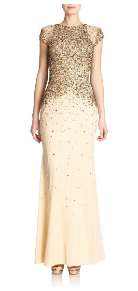 BADGLEY MISCHKA Sequined cap sleeve gown - A dusting of beaded and sequined embellishment dresses...