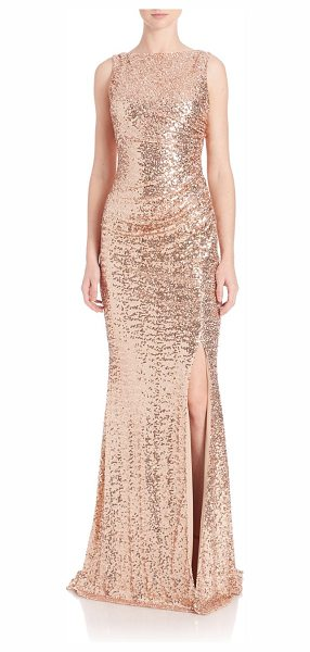 BADGLEY MISCHKA sequined cowl-back gown - Gathered, cowl-back gown featuring allover sequins....