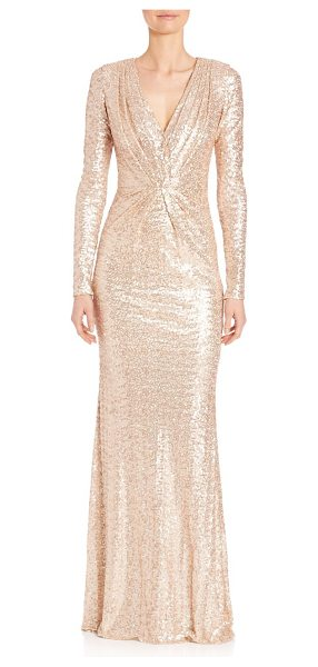 BADGLEY MISCHKA sequined long sleeve v-neck gown - Shimmery sequins glamorously style long-sleeve...