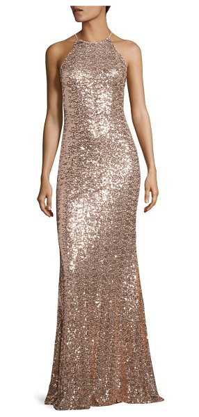 Badgley Mischka sequined racerback gown in blush