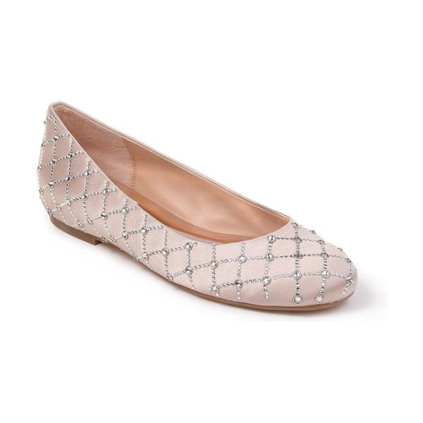 Badgley Mischka sheila flat in nude satin - Sparkling crystals pattern an elegant ballet flat with a...