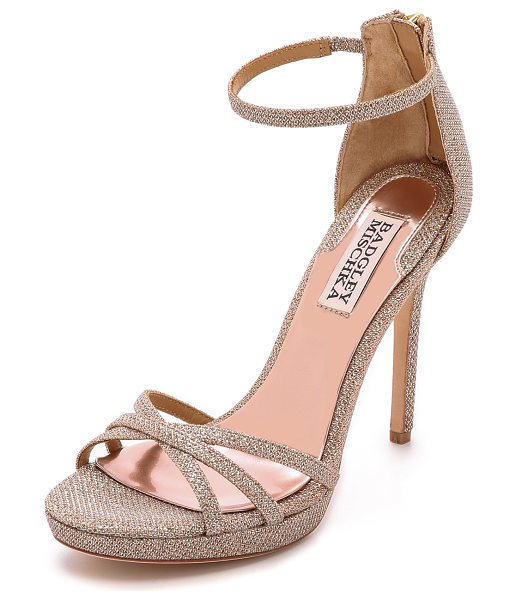 Badgley Mischka Signify sandals in latte - Delicate, scale textured mesh details these lustrous...