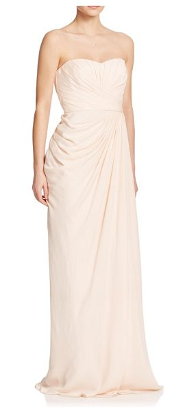 Badgley Mischka Silk ruched gown in blush