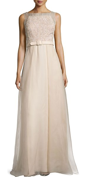 Badgley Mischka Sleeveless beaded organza ball gown w/ belt in taupe - Badgley Mischka Collection ball gown features beaded...