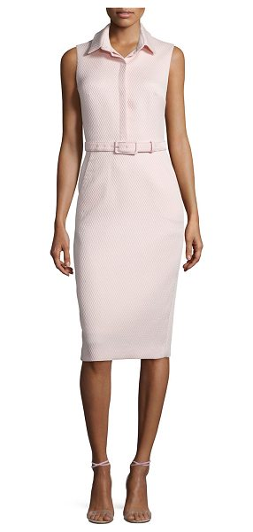 Badgley Mischka Sleeveless Collared Belted Shirtdress in light blush - Badgley Mischka pique dress. Spread collar; placket...