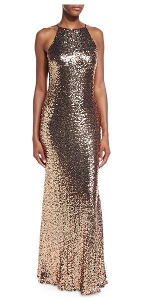 "BADGLEY MISCHKA Sleeveless Cowl-Back Sequin Column Gown - Badgley Mischka sequin gown. Approx. length: 62""L from..."