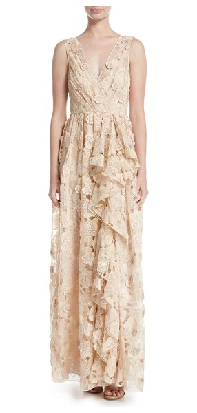 BADGLEY MISCHKA Sleeveless Floral Lace Ruffle Gown - Badgley Mischka evening gown in floral lace with 3D...