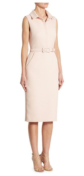 Badgley Mischka slim fit shirt dress in light blush - Gorgeous shirt dress comes with a tonal self-belt....