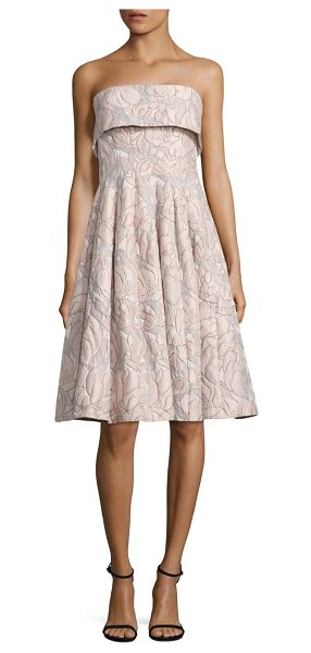Badgley Mischka strapless floral jacquard dress in beige multicolor - Flared jacquard dress in ladylike floral motif. Straight...