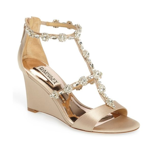 Badgley Mischka tabby embellished wedge sandal in nude satin - Sparkling floral clusters and marquise crystals parade...