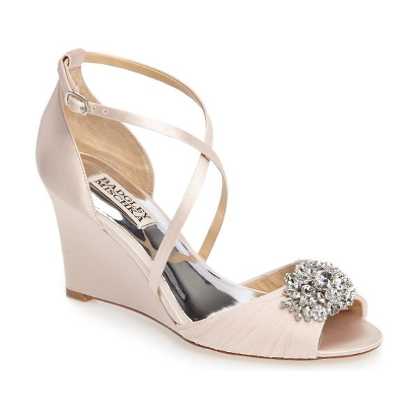 Badgley Mischka tacey embellished strappy wedge sandal in light pink satin - A dazzling crystal brooch electrifies the softly ruched...