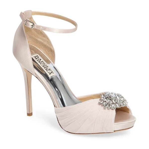 Badgley Mischka tad ankle strap pump in light pink satin - Indulge in decadence with this stunning d'Orsay pump....