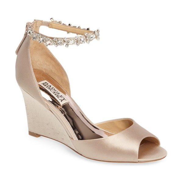 Badgley Mischka tahlia crystal ankle strap sandal in nude satin - A crystal-encrusted ankle strap that looks like jewelry...