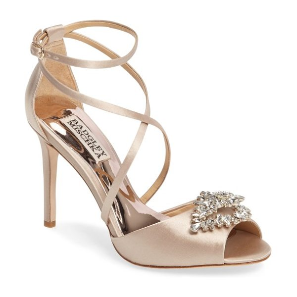 Badgley Mischka tatum embellished strappy sandal in nude satin - A diamond-shaped brooch of clustered crystals adds...