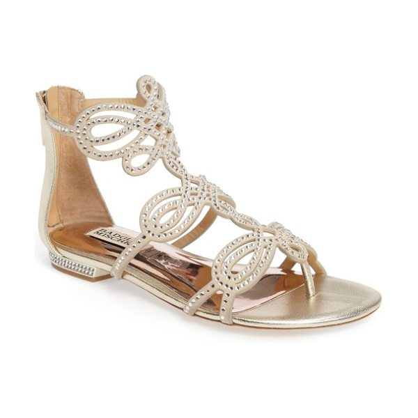 Badgley Mischka tempe embellished sandal in platino metallic suede - Intricate straps encrusted in crystals loop atop a...