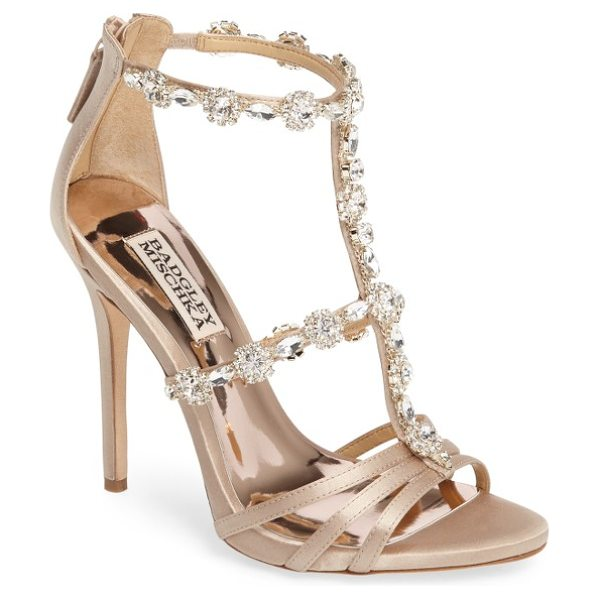 Badgley Mischka thelma crystal sandal in nude satin - All the bling you need for your next cocktail outfit is...
