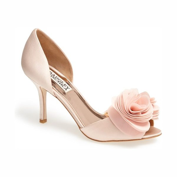 BADGLEY MISCHKA thora pump - A floral accent softens an elegant satin pump in an airy...