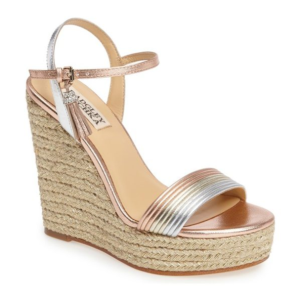 Badgley Mischka trace strappy platform wedge sandal in rose gold leather - Towering layers of shimmery braided jute finesse an...