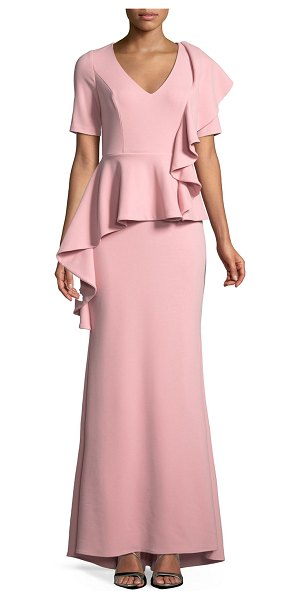Badgley Mischka V-neck Peplum Gown w/ Cascading Ruffle in blush - EXCLUSIVELY AT NEIMAN MARCUS Badgley Mischka Collection...