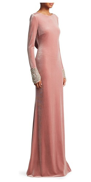 Badgley Mischka velvet open back gown in blush - Sparking cuff embellishments adorn this plush, draped...