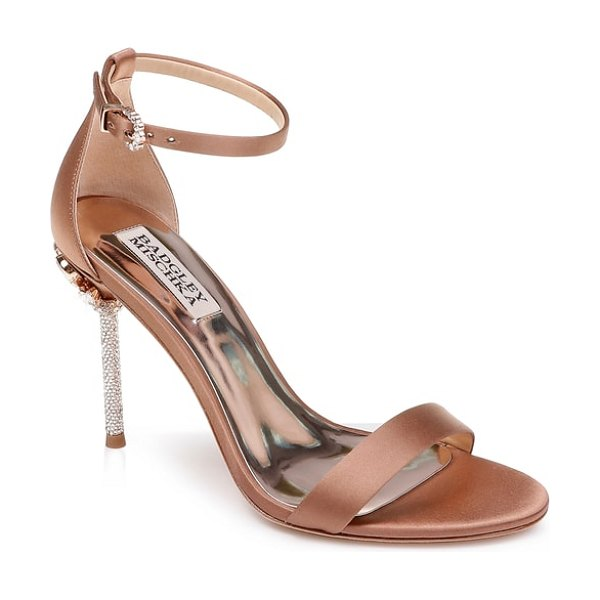 Badgley Mischka Collection badgley mischka vicia crystal embellished heel sandal in brown - Dazzling crystals cover the heel of a party-ready sandal...