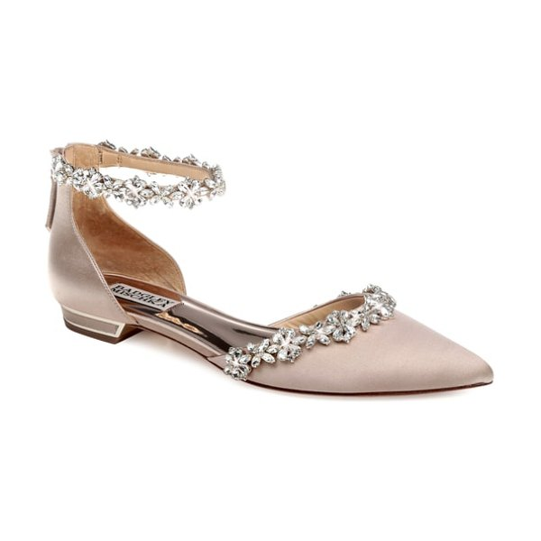 a80ef5c9a8 Badgley Mischka Collection badgley mischka vivien crystal embellished open  flat in beige - Dainty crystal flowers