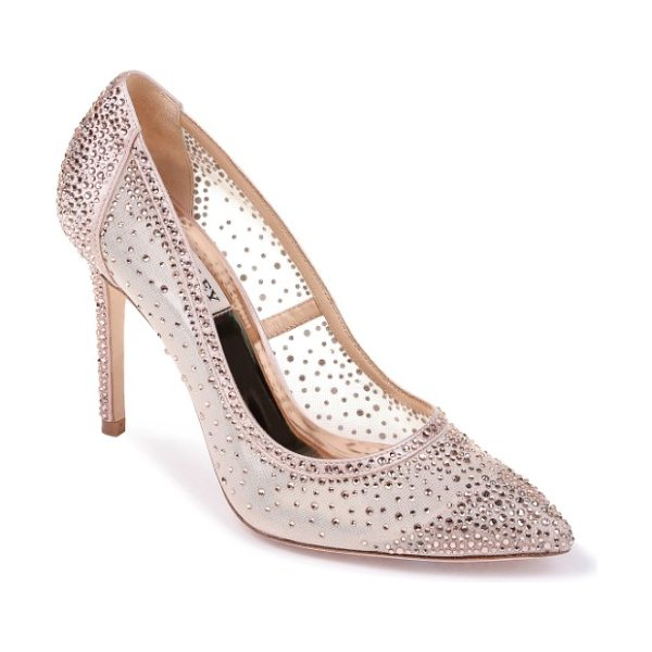 Badgley Mischka weslee pointy toe pump in blush satin - Sparkling crystals shimmer and shine as you glide across...
