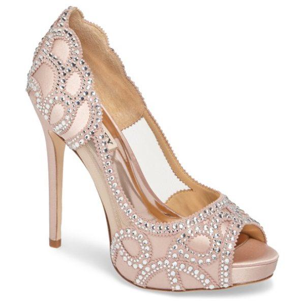 Badgley Mischka witney embellished peep toe pump in blush satin - Sheer mesh insets show off your foot in a soaring...