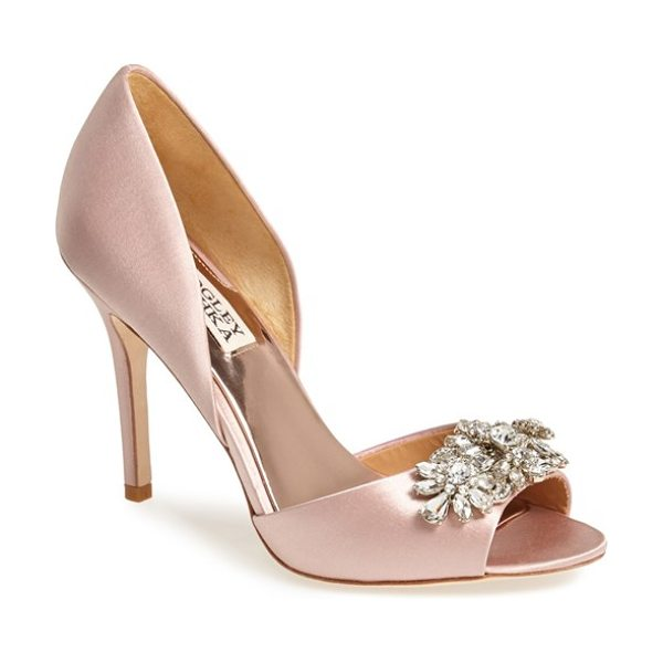 Badgley Mischka giana satin dorsay pump in blush - A dazzling array of sparkling crystals catches the light...