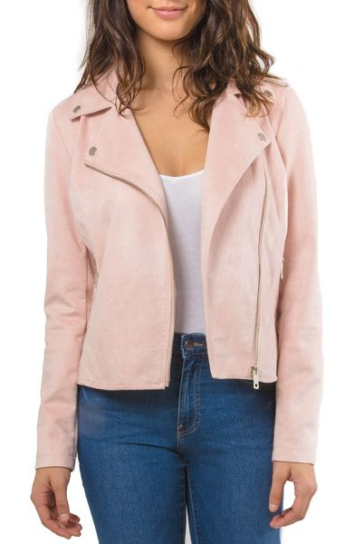 Bagatelle faux suede biker jacket in blush - Soft faux suede tempers the biker vibes of this...