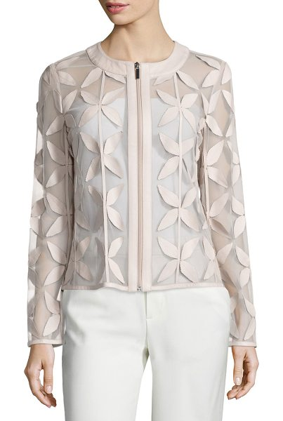 BAGATELLE Leather New Leaf Mesh Jacket - Bagatelle leather and organza jacket in a leaf motif....