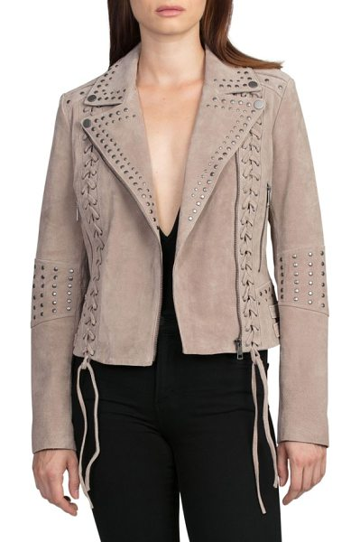 Bagatelle bagatelle studded suede jacket in latte - This fitted jacket's edgy elements, like laced princess...