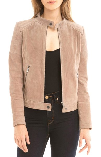 BAGATELLE suede moto jacket in latte - This chic moto jacket is cut from supersoft, buttery...