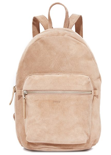 Baggu leather backpack in dune - Supple leather composes this understated BAGGU backpack....