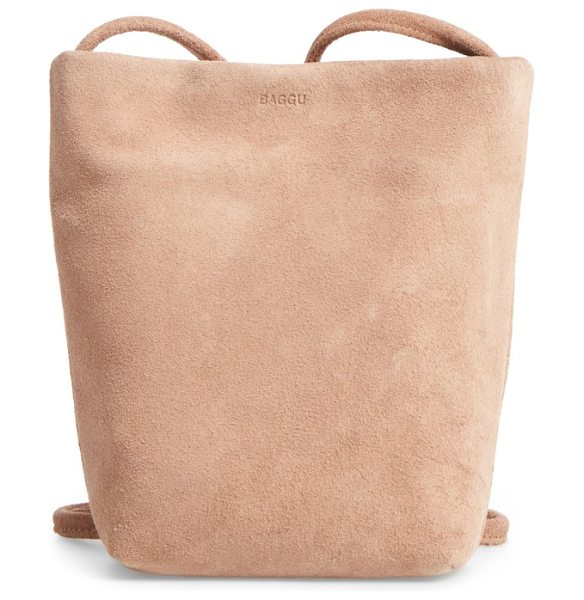 Baggu leather crossbody bag in dune suede - Casually elevate your around-town style with a...